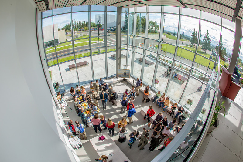 "A crowd enjoys light refreshments in the lobby after the dedication of the Margaret Murie Building, the newest addition to the UAF campus.  <div class=""ss-paypal-button"">Filename: CAM-13-3912-123.jpg</div><div class=""ss-paypal-button-end"" style=""""></div>"