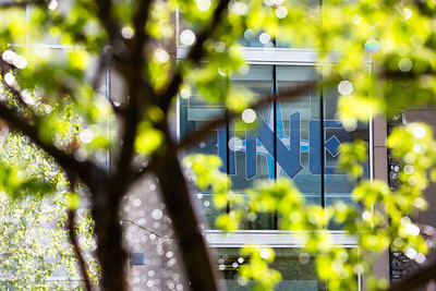 The Duckering Building's logo is seen through a tree and water droplets on a sunny may morning.  Filename: CAM-12-3421-62.jpg