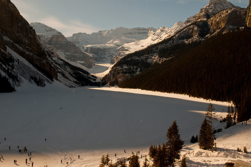 This was taken from on top of Lake Louise Resort, over looking Lake Louise which is obviously frozen over.