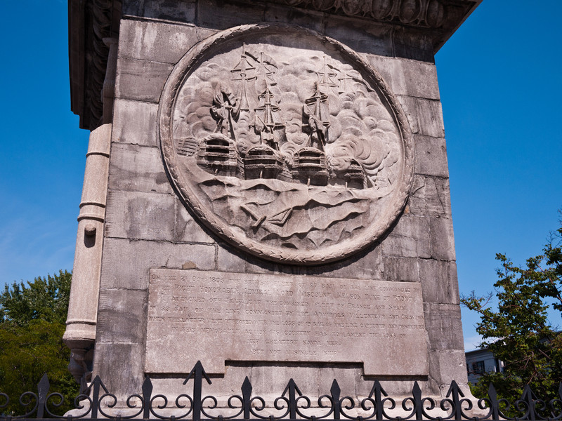Base of Nelson's Column, depicting the Battle of Trafalgar.