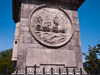 Base of Nelson's Column, depicting the Battle of Trafalgar.