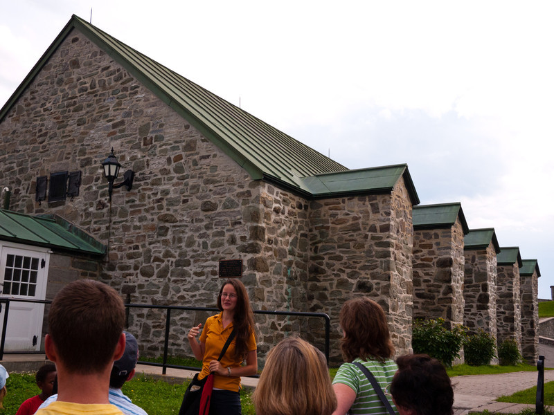 Our tour guide in front of the powder magazine.