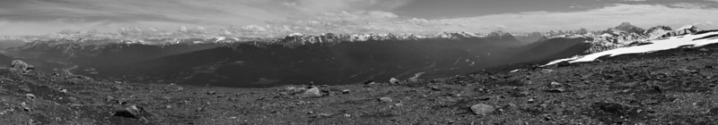 From left to right: Jasper, Athabasca Valley, Colin Range, Maligne Range, Winston Churchill Range