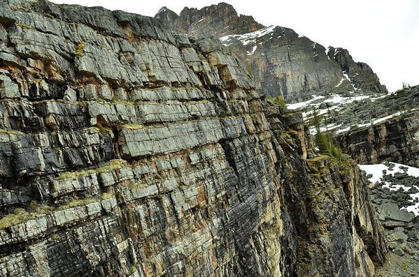 Rock layers above Lake O'Hara, Yoho NP, British Columbia, Canada