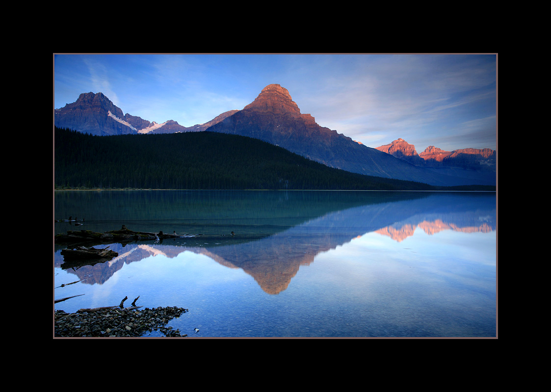 Sunrise over Lower Waterfowl Lake and Mount Chephren, Banff National Park