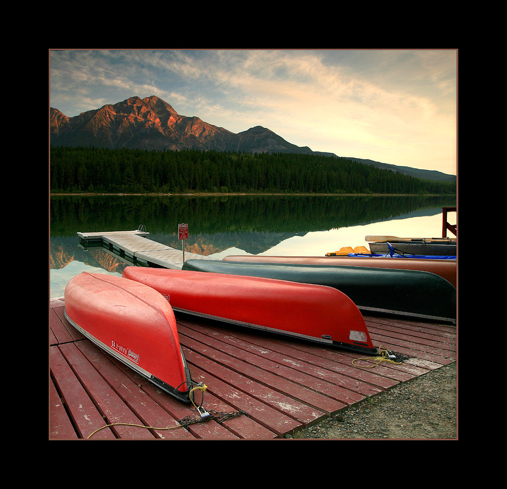 Canoes, Patricia Lake, Jasper National Park