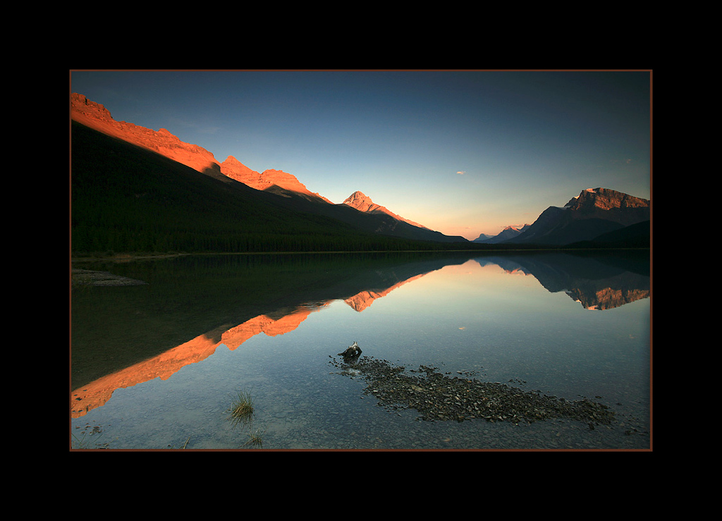 Upper Waterfowl Lake at Sunset, Banff National Park