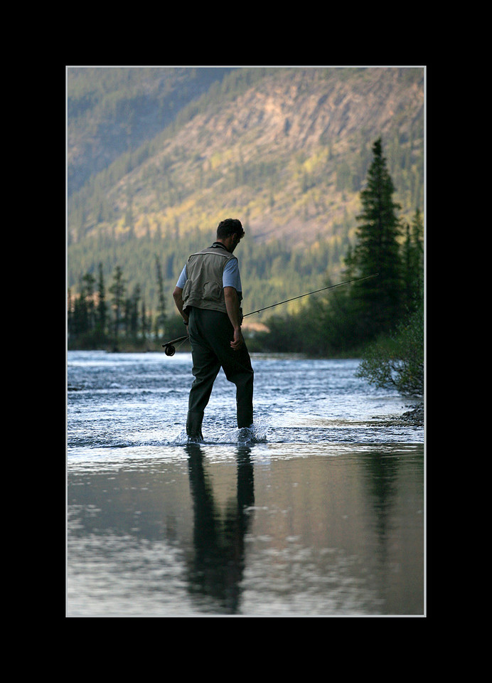 Fly Fisherman at End of Day, Bow River, Banff National Park