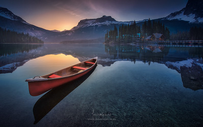 Red Canoe at Emerald Lake