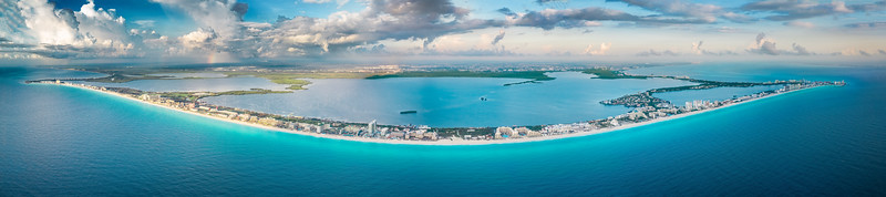 Large panorama Cancun beach strip