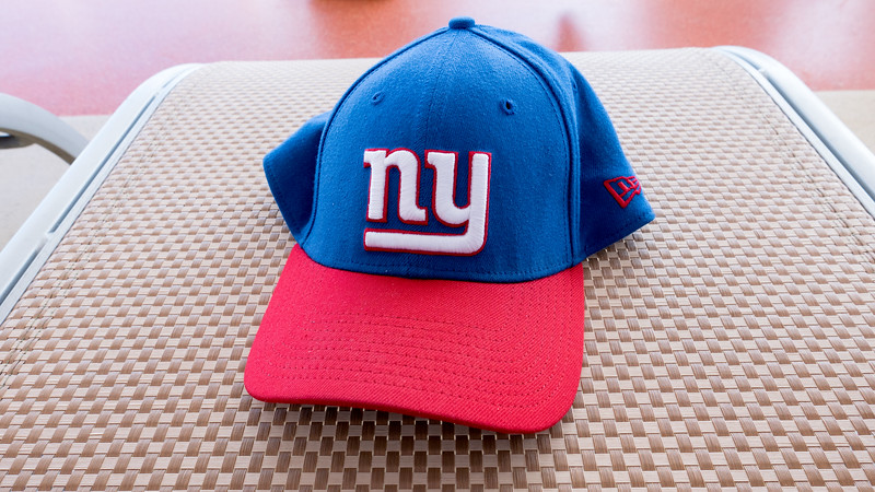 Barry's NY Giant cap goes everywhere!