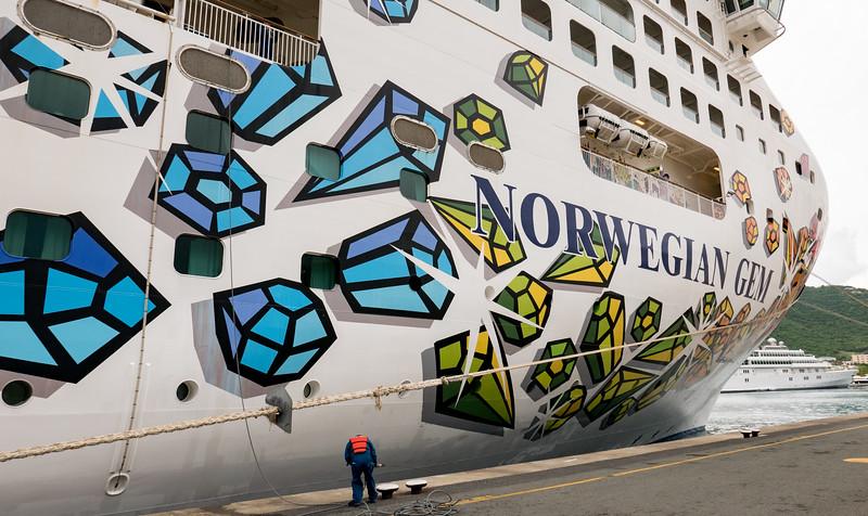 Norwegian Gem docked in St. Thomas - October 25, 2015