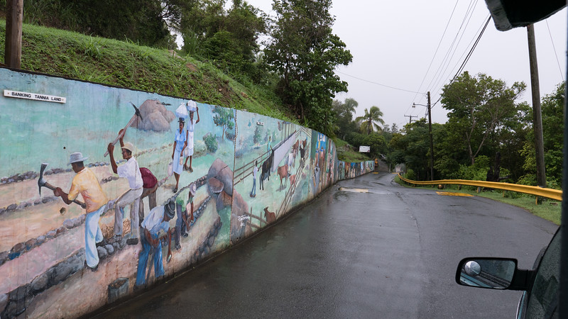 Great wall of Tortola murals painted by local artists