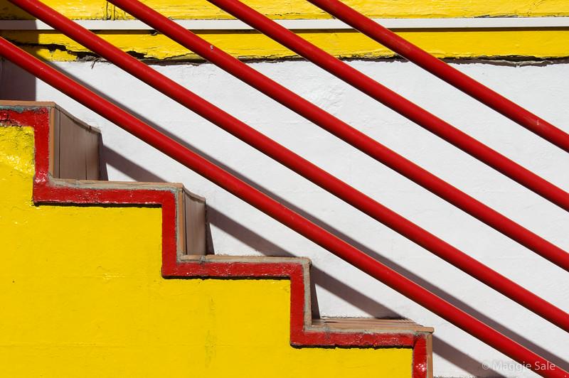 Stair detail of restaurant in Gustavia.