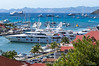 Some of the big yachts at Gustavia. St. Martin/St. Maarten in the background.