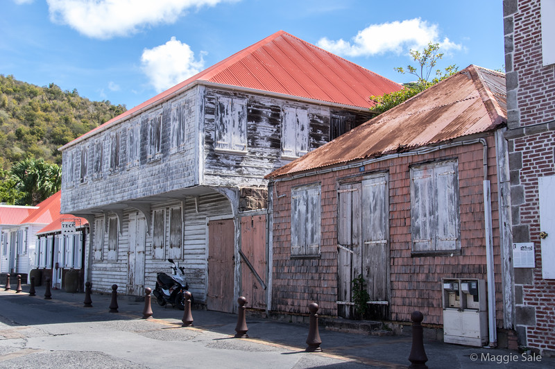 Older port buildings in Gustavia.