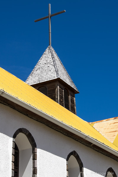 Church in Les Saintes. Love the coloured roof!