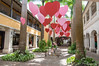 Hearts for Valentine's Day in a shopping mall on Barbados. We had a nice dinner here with Francie and Gord.
