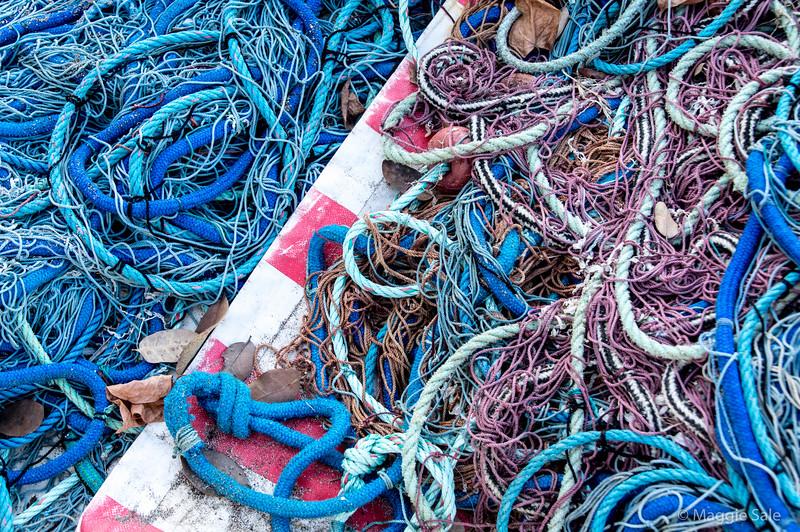 Fishing nets on shore in Les Saintes.