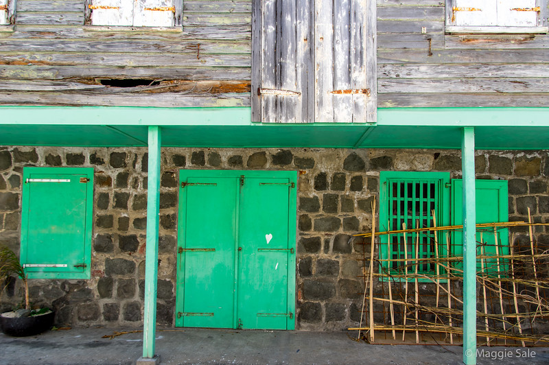 Another old building in the back streets of Gustavia.