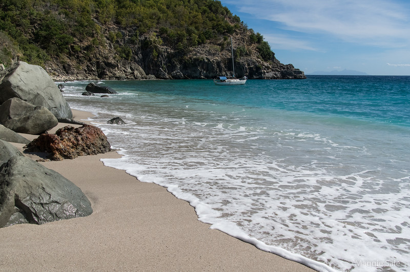 Shell beach on the edge of Gustavia, St. Barts.