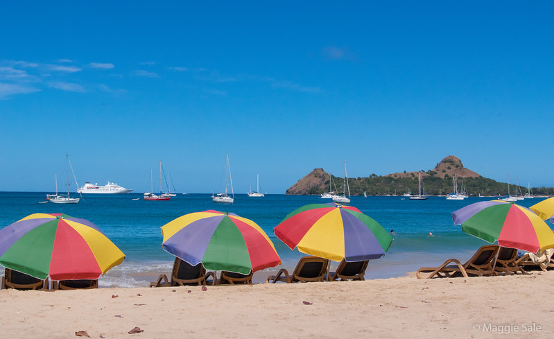 Beach at Rodney Bay with our ship and Pigeon Island in the background.