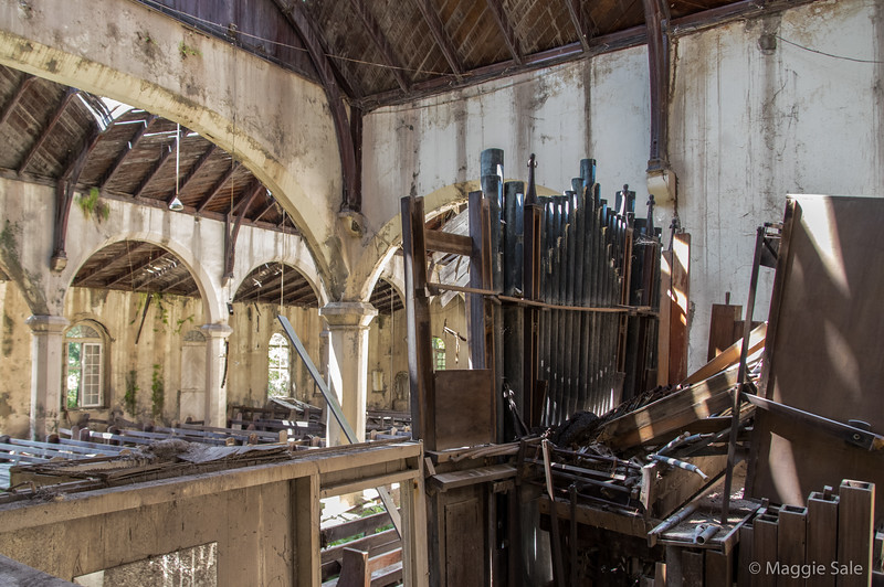 The organ burnt and covered with ash dust - such a sad sight.