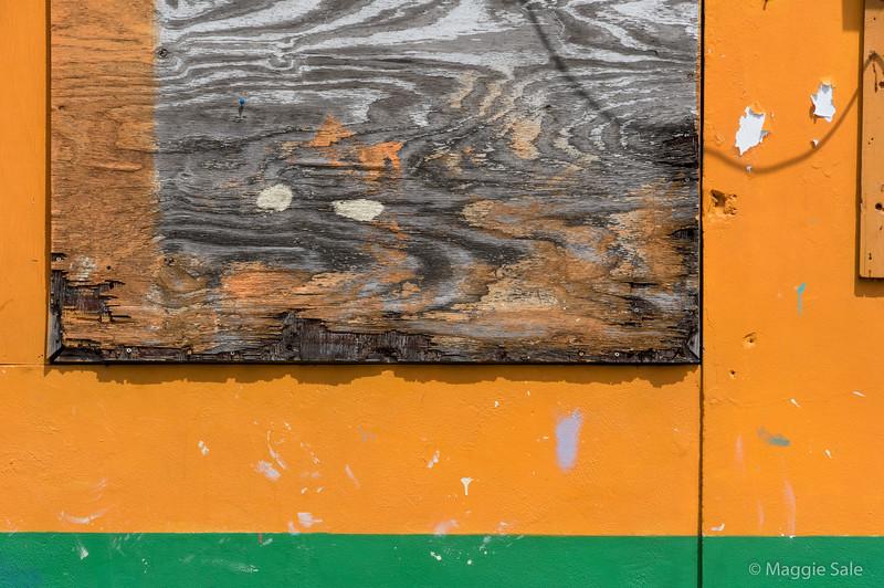 Boarded up window in Bequia