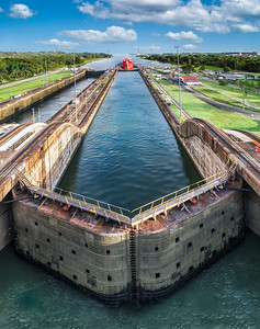 Panama Canal with blue sky