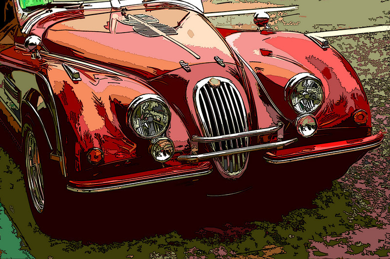 We just happened across a car show in Carmel, loved this old jag.