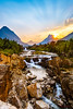 Swiftcurrent Falls Sunset - 1