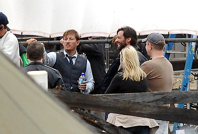 "EXCLUSIVE PHOTOS - BOWEN, AUSTRALIA 24 JUN 2007 - Hugh Jackman and David Wenham share a laugh furing filming of ""Australia"", the Baz Luhrmann movie currently in production in Bowen, QLD - PHOTO: CAMERON LAIRD (PH 0418 238811)"