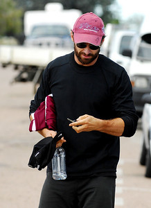 "BOWEN, QLD 24 JUN 2007 - Hugh Jackman leaves a Bowen gym during a break in filming ""Australia"", the Baz Luhrmann movie currently in production in Bowen, QLD - PHOTO: CAMERON LAIRD (PH 0418 238811)"