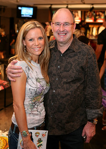 12 Dec 2007 Surfers Paradise, Qld, Australia - V8 Supercar supremo Tony Cochrane with Thea Jeans at the opening of an Ed Hardy store on the Gold Coast - PHOTO: CAMERON LAIRD (Ph: 0418 238811)