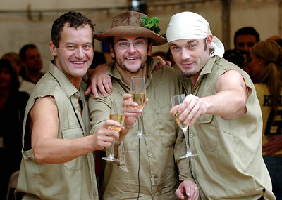 "GOLD COAST, AUSTRALIA - Joe Pasquale, the winner of the 4th series of ""I'm A Celebrity, Get Me Out Of Here"" with runner up Paul Burrell (left) and third placed Fran Cosgrave (right) - PHOTO: CAMERON LAIRD (Ph +61 418238811)"