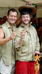 "GOLD COAST, AUSTRALIA - Joe Pasquale, the winner of the 4th series of ""I'm A Celebrity, Get Me Out Of Here"" with runner up Paul Burrell - PHOTO: CAMERON LAIRD (Ph +61 418238811)"