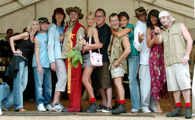 "GOLD COAST, AUSTRALIA - The cast of ""I'm A Celebrity, Get Me Out Of Here"" (from left) Natalie Appleton, Brian Harvey, Janet Street-Porter, Joe Pasquale (winner), Nancy Sorrell, Vic Reeves, Paul Burrell, Sophie Anderton, Antonio Fargas (a.k.a Huggy Bear), Sheila Ferguson and Fran Cosgrave - PHOTO: CAMERON LAIRD (Ph +61 418238811)"