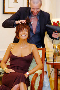 "GOLD COAST, AUSTRALIA - Sophie Anderton has her hair styled by celebrity hairdresser Adee Phelan after her eviction from ""I'm A Celebrity, Get Me Out Of Here"" - PHOTO: CAMERON LAIRD (Ph +61 418238811)"