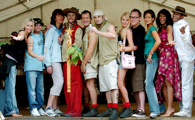 "GOLD COAST, AUSTRALIA - The cast of ""I'm A Celebrity, Get Me Out Of Here"" (from left) Natalie Appleton, Brian Harvey, Janet Street-Porter, Joe Pasquale (winner), Paul Burrell, Fran Cosgrave, Nancy Sorrell, Vic Reeves, Sophie Anderton, Sheila Ferguson and Antonio Fargas (a.k.a Huggy Bear) - PHOTO: CAMERON LAIRD (Ph +61 418238811)"