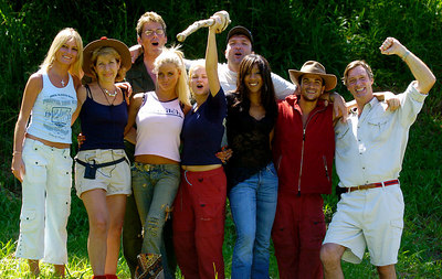 "GOLD COAST, AUSTRALIA / 10-FEB-2004 Kerry McFadden celebrates her win in ""I'm a Celebrity, Get me out of Here"" along with the rest of the celebrities (front row from left - Alex Best, Jennie Bond, Jordan, Kerry McFadden, Diane Modahl, Peter Andre, Charles Brocket / back row from left - Mike Read, Neil Ruddock) PHOTO: CAMERON LAIRD (Ph: +61 (0)418238811)"