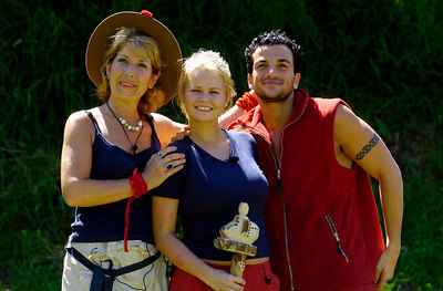 "GOLD COAST, AUSTRALIA / 10-FEB-2004 Former Atomic Kitten Kerry McFadden celebrates her win in ""I'm a Celebrity, Get me out of Here"" with (left) Former BBC royal reporterJennie Bond and (right) former teen idol Peter Andre PHOTO: CAMERON LAIRD (Ph: +61 (0)418238811)"