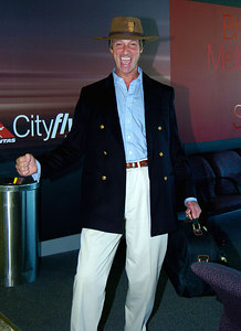 "BRISBANE, AUSTRALIA / 11-FEB-2004 Lord Brocket leaves Australia after ""I'm a Celebrity, Get me out of Here"" PHOTO: CAMERON LAIRD (Ph: +61 (0)418238811)"