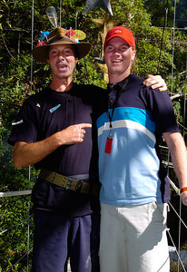 "GOLD COAST, AUSTRALIA / 09-FEB-2004 Lord Brocket (with son Alexander) after his eviction from ""I'm a Celebrity, Get me out of Here"" PHOTO: CAMERON LAIRD (Ph: +61 (0)418238811)"