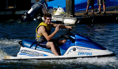 "GOLD COAST, AUSTRALIA / 07-FEB-2004 Bryan McFadden enjoys a jetski while wife Kerry is in the jungle on ""I'm a Celebrity, Get me out of Here"" PHOTO: CAMERON LAIRD (Ph: +61 (0)418238811)"