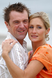 "Surfers Paradise, Queensland, AUSTRALIA / 15-MAY-2003 ""I'm a Celebrity, Get me out of here"" winner Phil Tufnell with partner Dawn Brown PHOTO: © CAMERON LAIRD (Ph: +61 418 238811)"