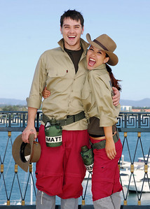I'm A Celebrity contestants Matt Willis and Myleene Klass show off their jungle outfits - PHOTO: CAMERON LAIRD (Ph: 0418238811)