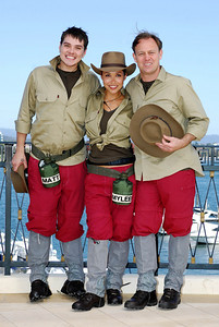 I'm A Celebrity contestants Matt Willis, Myleene Klass and Jason Donovan show off their jungle outfits - PHOTO: CAMERON LAIRD (Ph: 0418238811)