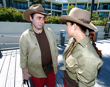 I'm A Celebrity contestants David Gest and Myleene Klass chat as they prepare to board helicopters - PHOTO: CAMERON LAIRD (Ph: 0418238811)