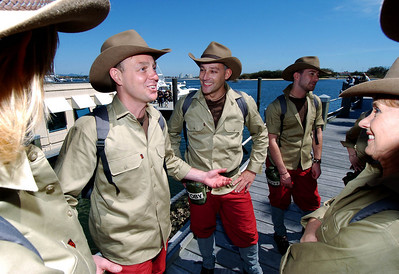 I'm A Celebrity contestant Jason Donovan talks to his jungle pals as they prepare to board helicopters - PHOTO: CAMERON LAIRD (Ph: 0418238811)