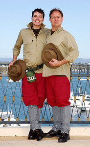 I'm A Celebrity contestants Matt Willis and Jason Donovan show off their jungle outfits - PHOTO: CAMERON LAIRD (Ph: 0418238811)